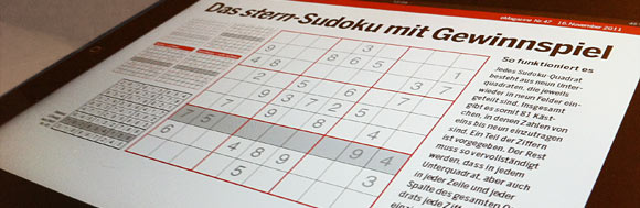 Stern Sudoku mit Gewinnspiel auf iPad